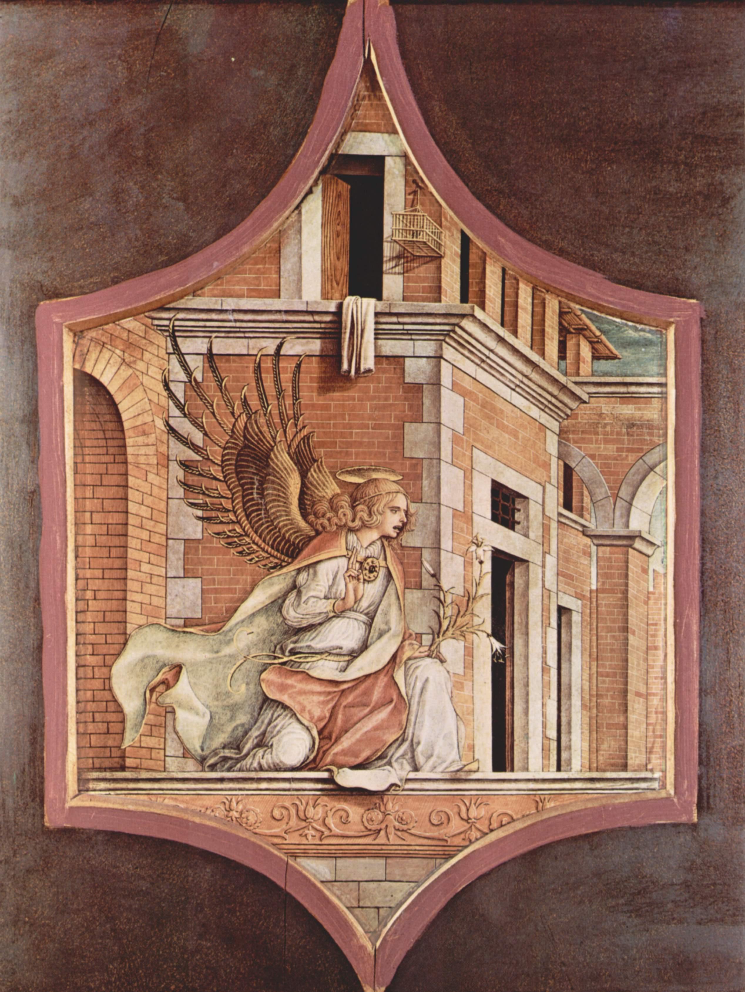 Алтарный триптих, левое навершие  благовествующий ангел, Карло Кривелли