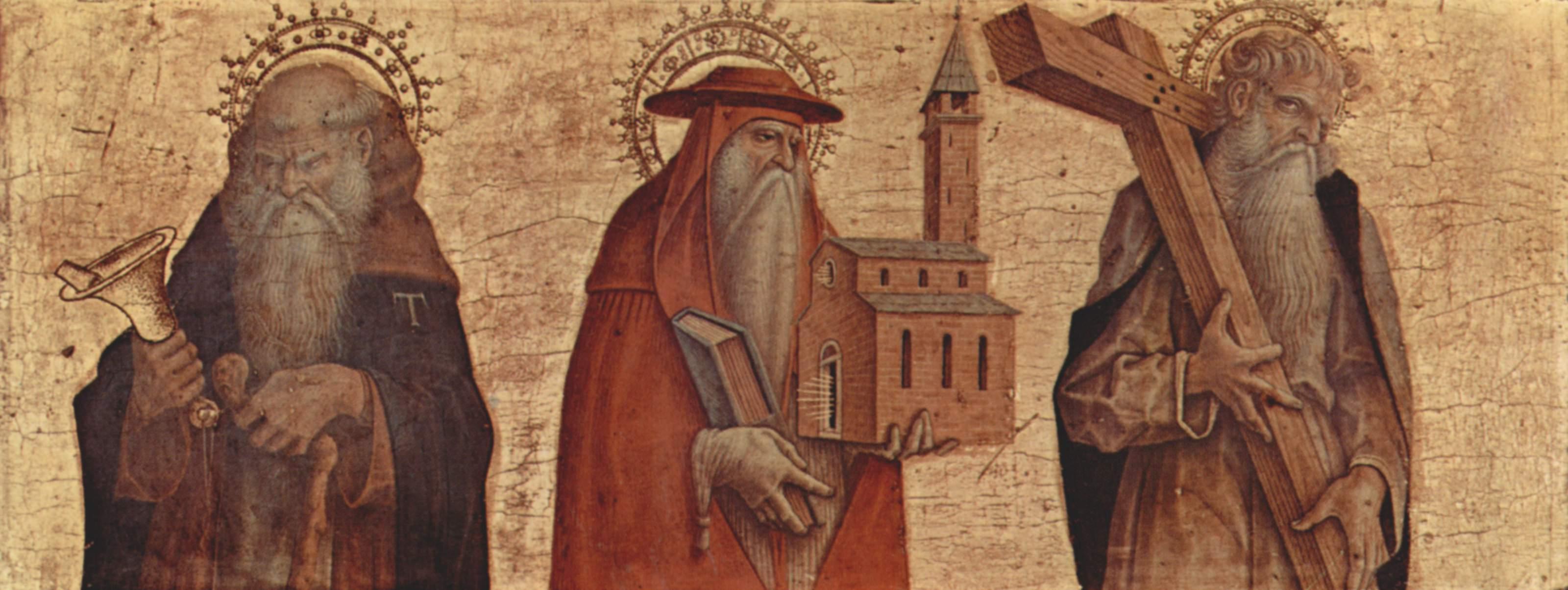 Алтарный триптих, правая створка в основании алтаря  св. Антоний Аббат, св. Иероним, св. Андрей, Карло Кривелли