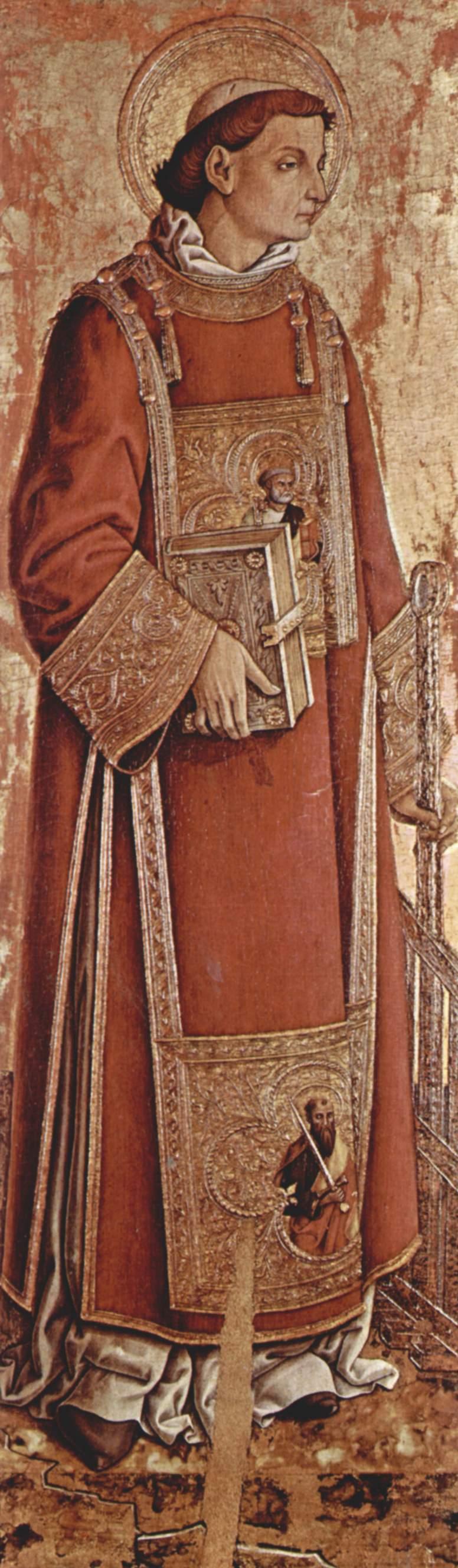 Алтарь из церкви Сан Сильвестро в Масса Фермана внутренняя левая доска  св. Лаврентий, Карло Кривелли