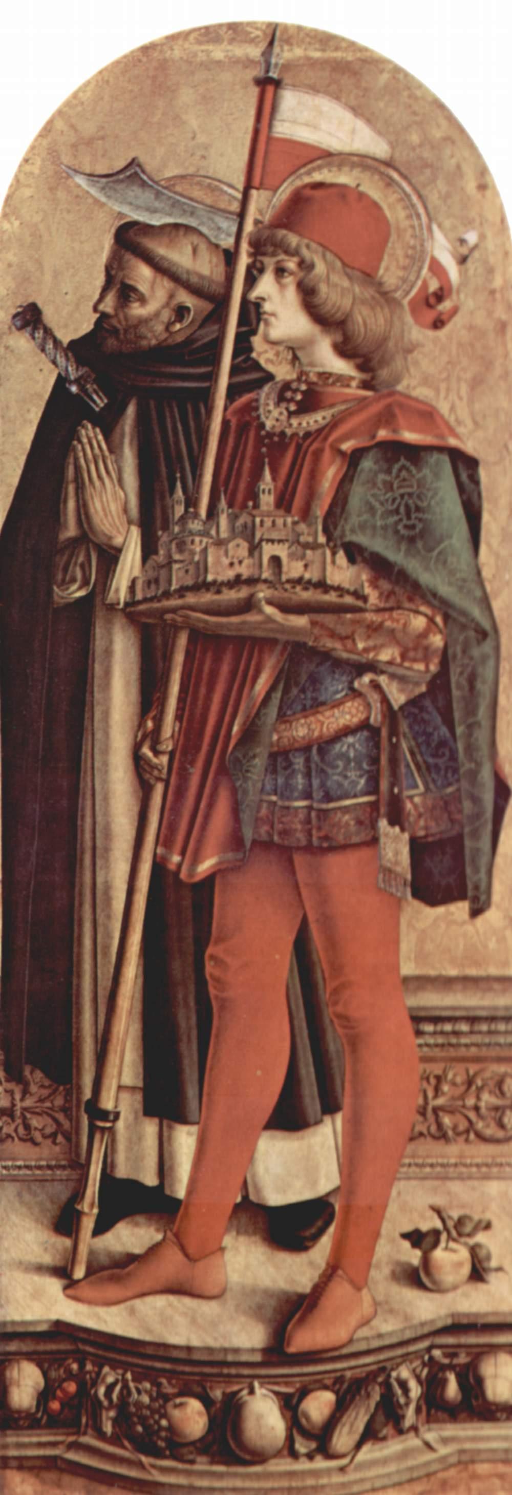 Алтарный триптих, правая створка  св. Пётр Мученик и св. Венециан Камеринский, Карло Кривелли