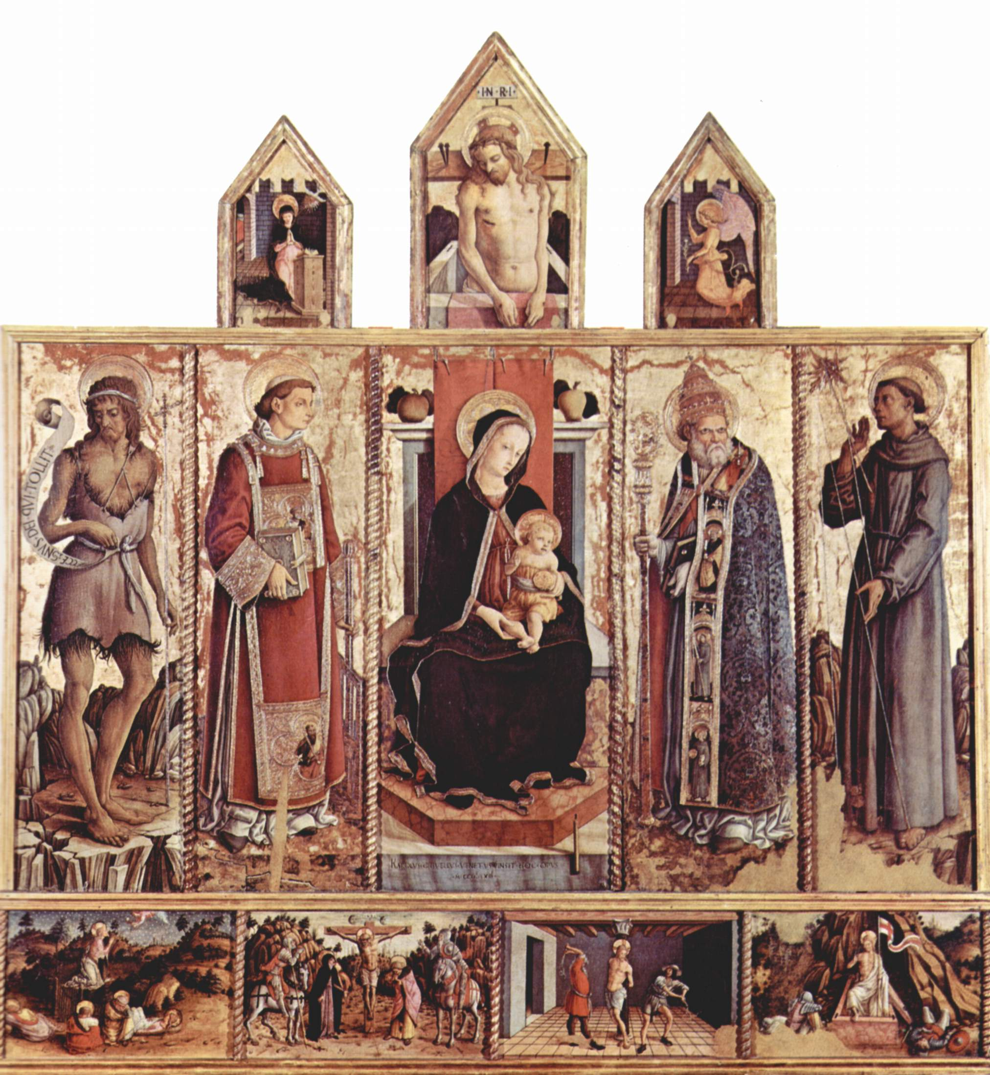 Алтарь из церкви Сан Сильвестро в Масса Фермана, общий вид, центральная часть  Мадонна на троне, Карло Кривелли