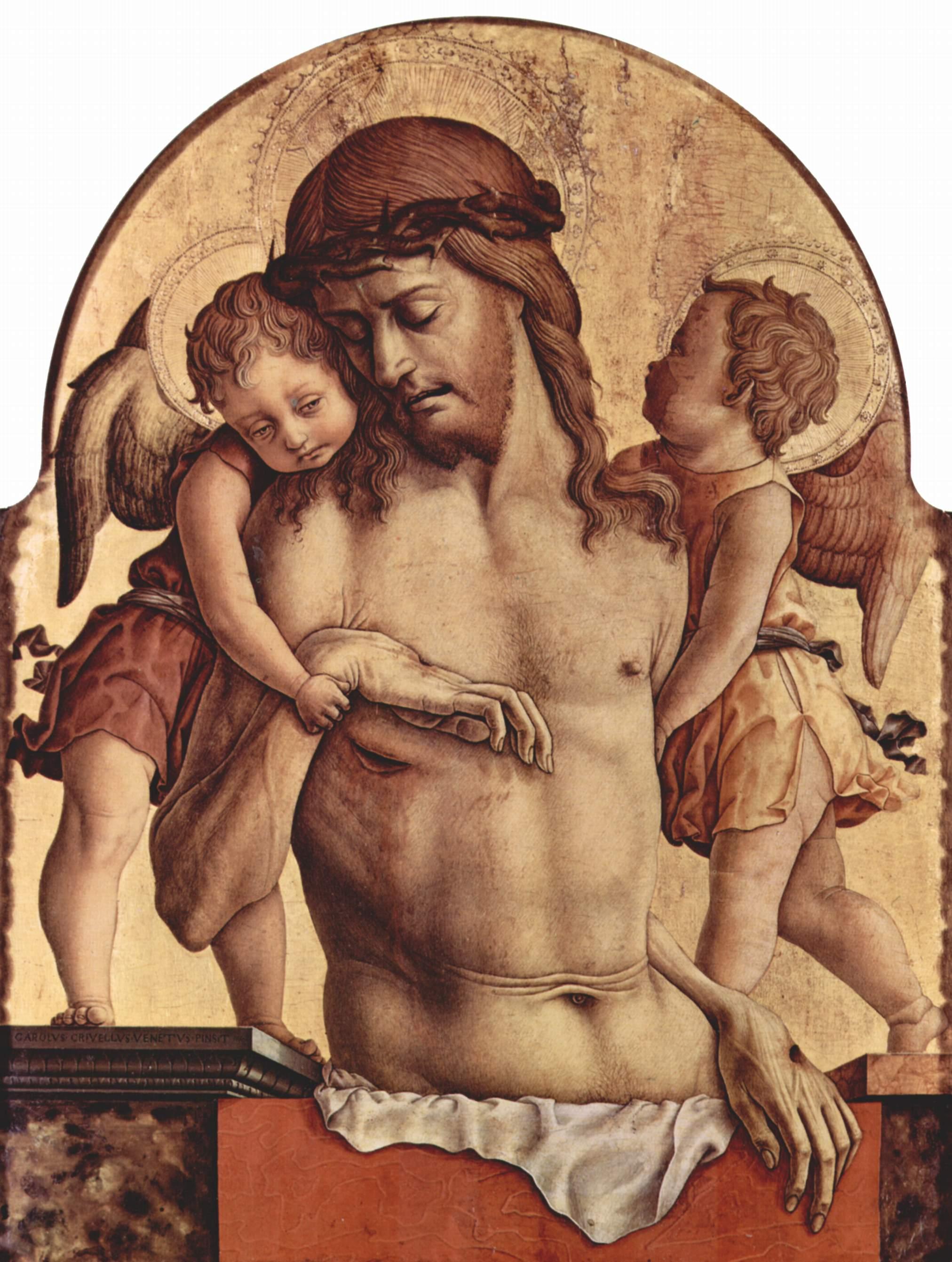 Алтарный полиптих церкви Сан Франческо в Монтефиоре дель Ассо, навершие центральной части  пьета с ангелами, Карло Кривелли
