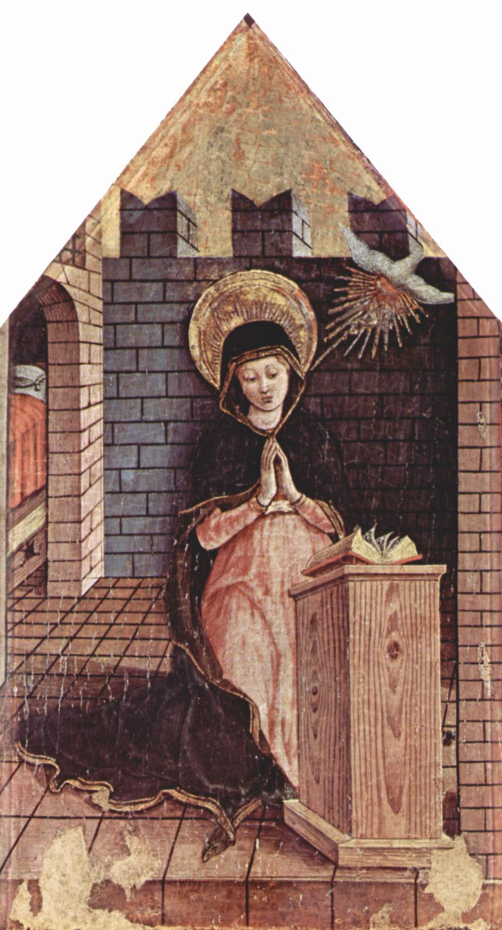 Алтарь из церкви Сан Сильвестро в Масса Фермана, левое навершие  Благовещение, Карло Кривелли
