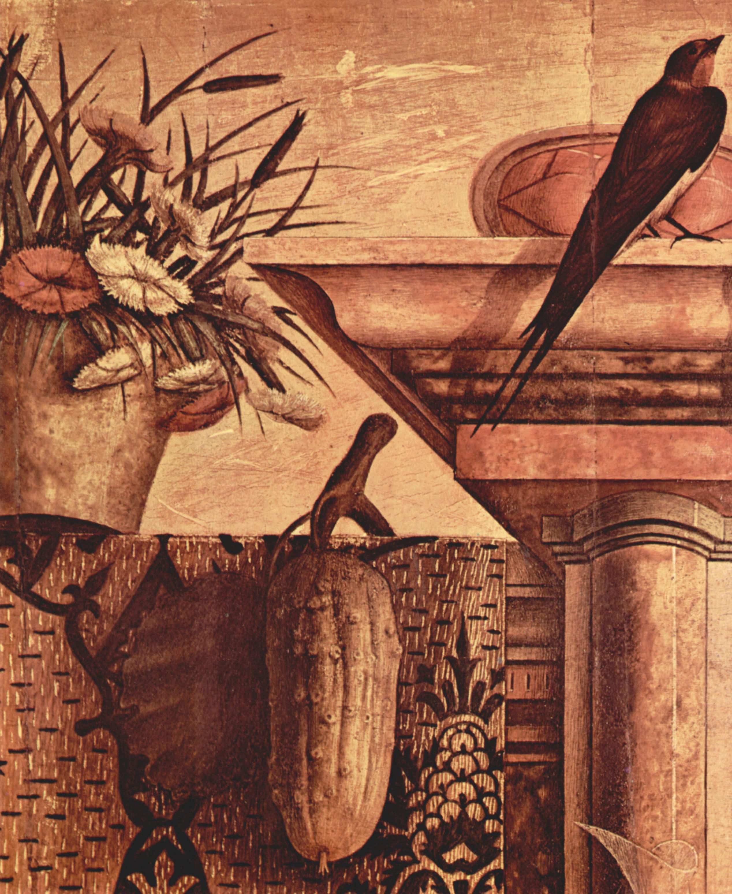 Алтарь семьи Одони, центральное изображение  Мадонна на троне. Деталь, Карло Кривелли