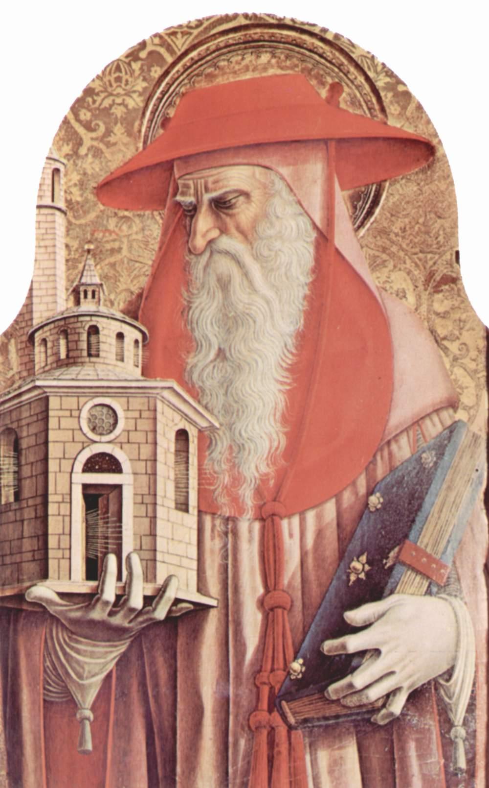 Центральный алтарь кафедрального собора в Асколи, полиптих, внутренее левое навершие  св. Иероним, Карло Кривелли