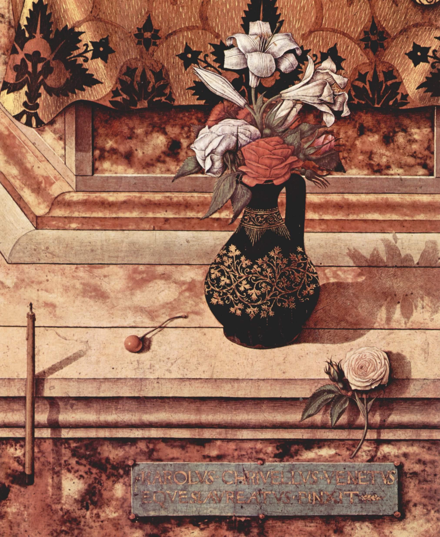 Алтарь из кафедрального собора в Камерино, Мадонна делла Канделетта. Деталь  погасшая свеча у подножия, Карло Кривелли