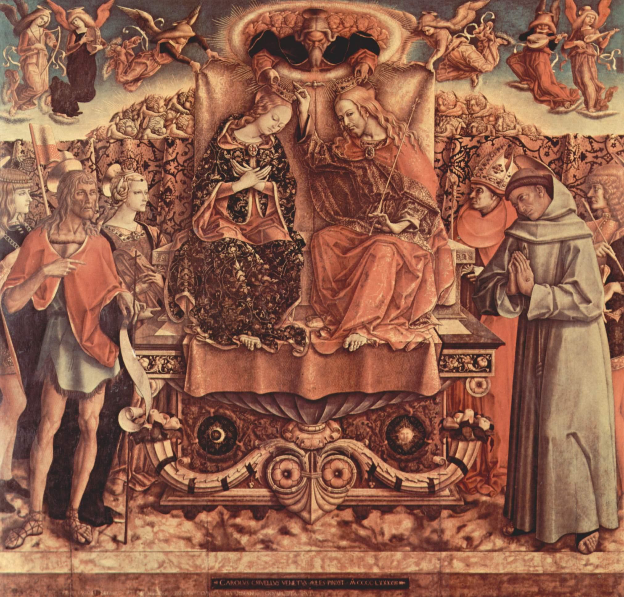 Коронование Марии, Святая Троица, слева  св. Венантий, Иоанн Креститель и св. Екатерина Александрийс, Карло Кривелли