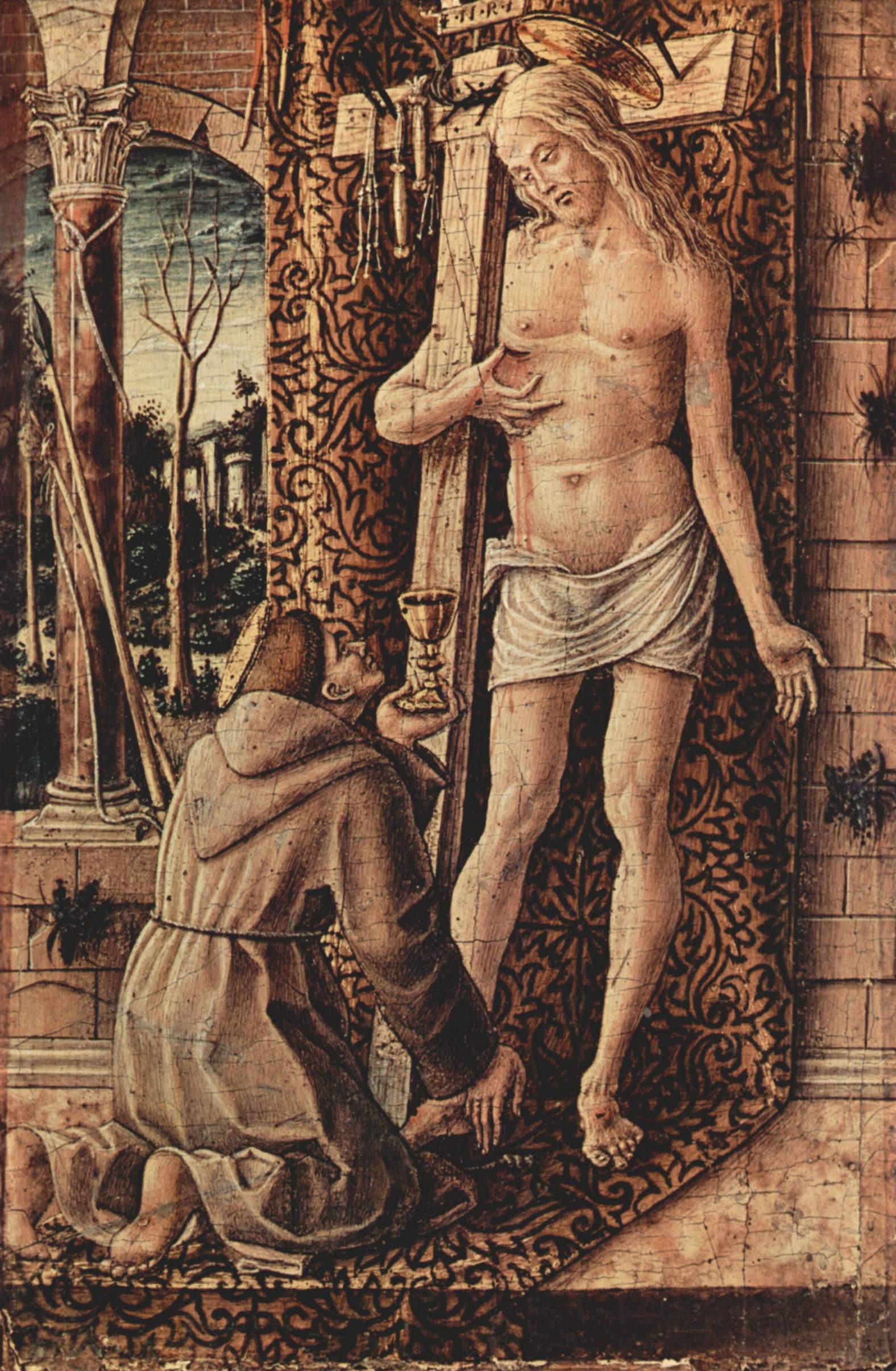 Св. Франциск Ассизский собирает кровь, каплющую из ран Христа, Карло Кривелли