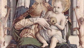 Центральный алтарь кафедрального собора в Асколи, полиптих, центральная часть  Мадонна на троне