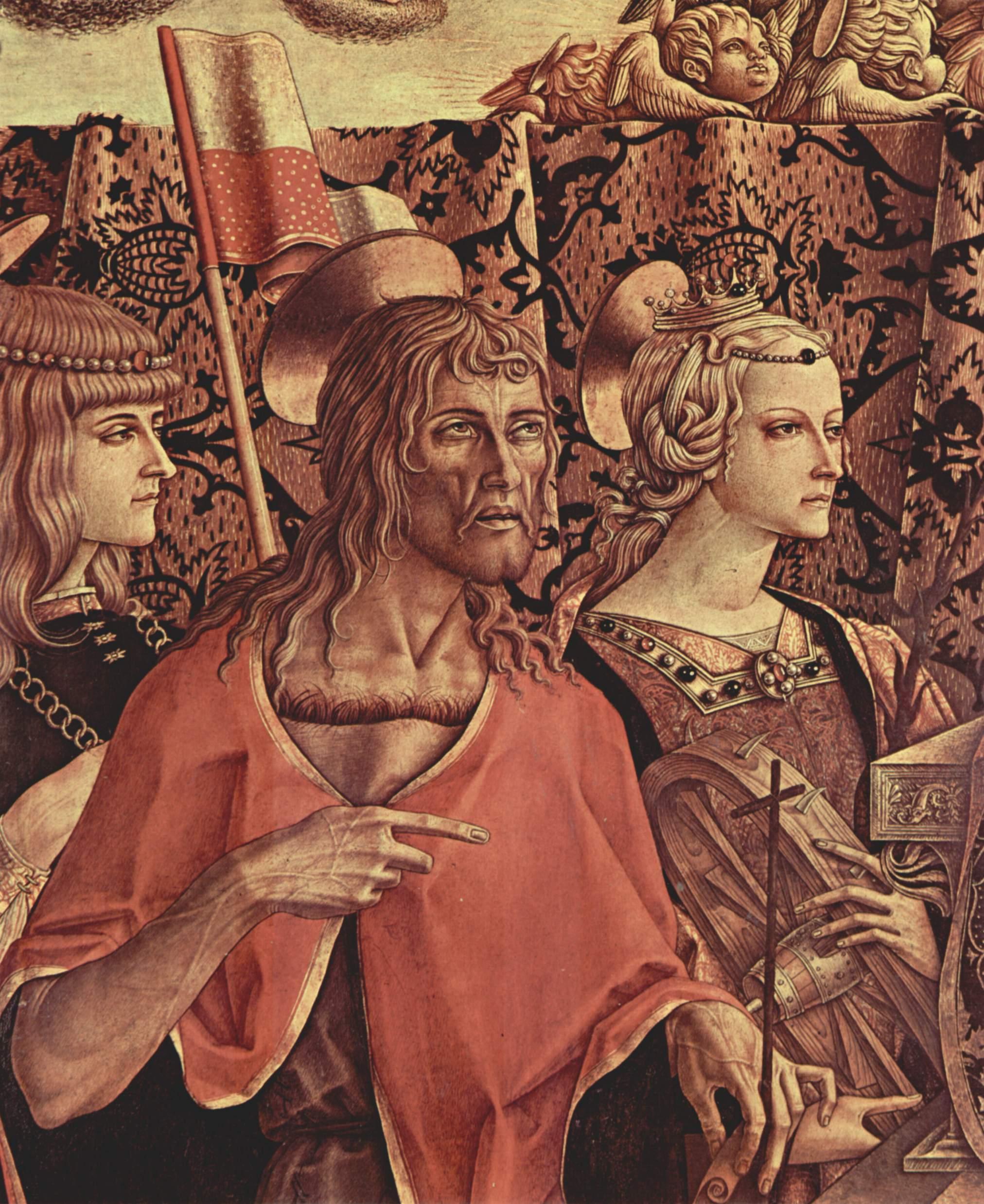 Коронование Марии. Деталь  Иоанн Креститель и св. Екатерина Александрийская, Карло Кривелли