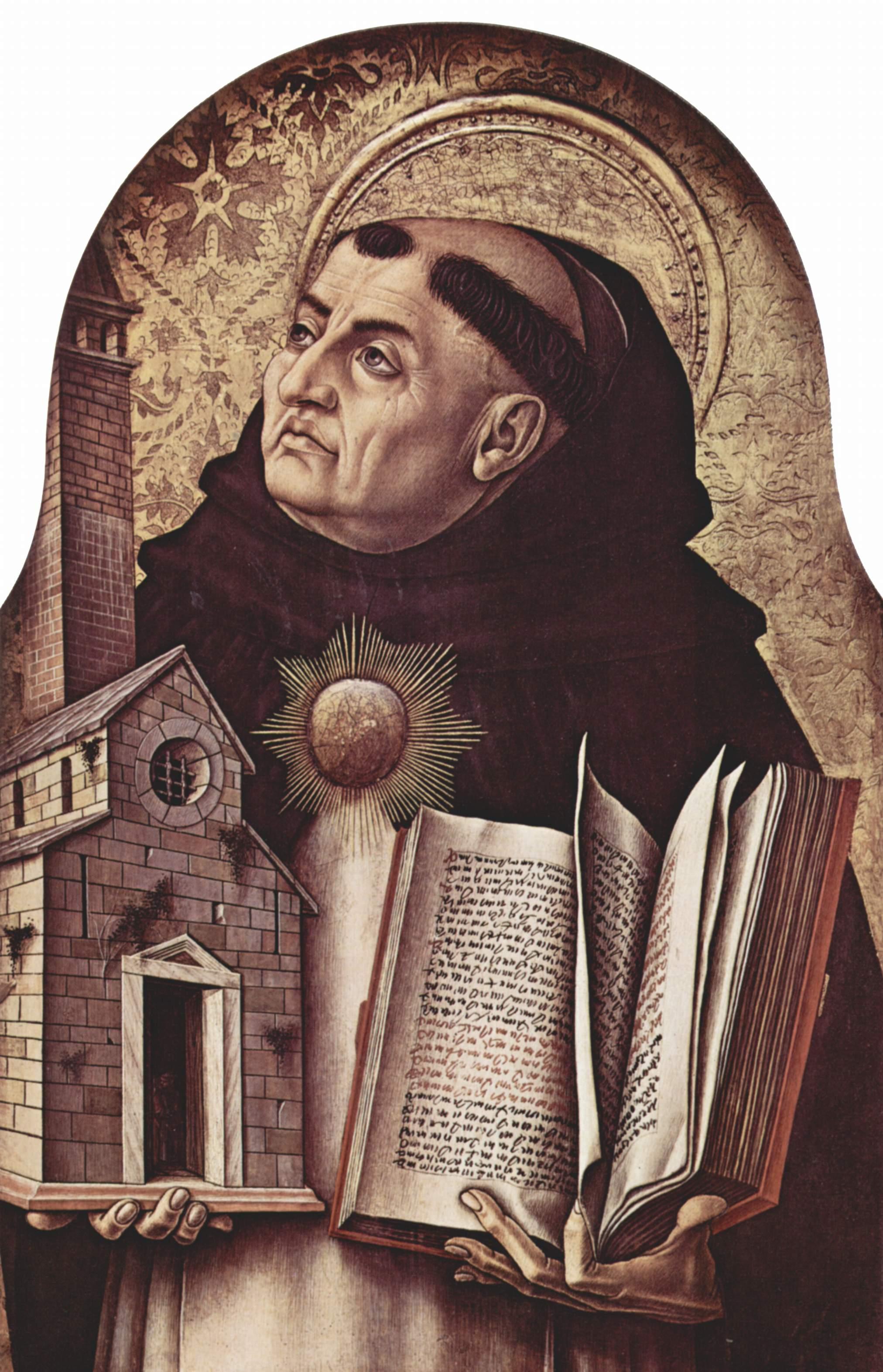 Центральный алтарь Сан Доменико в Асколи, полиптих, левое внешнее навершие  св. Фома Аквинский, Карло Кривелли