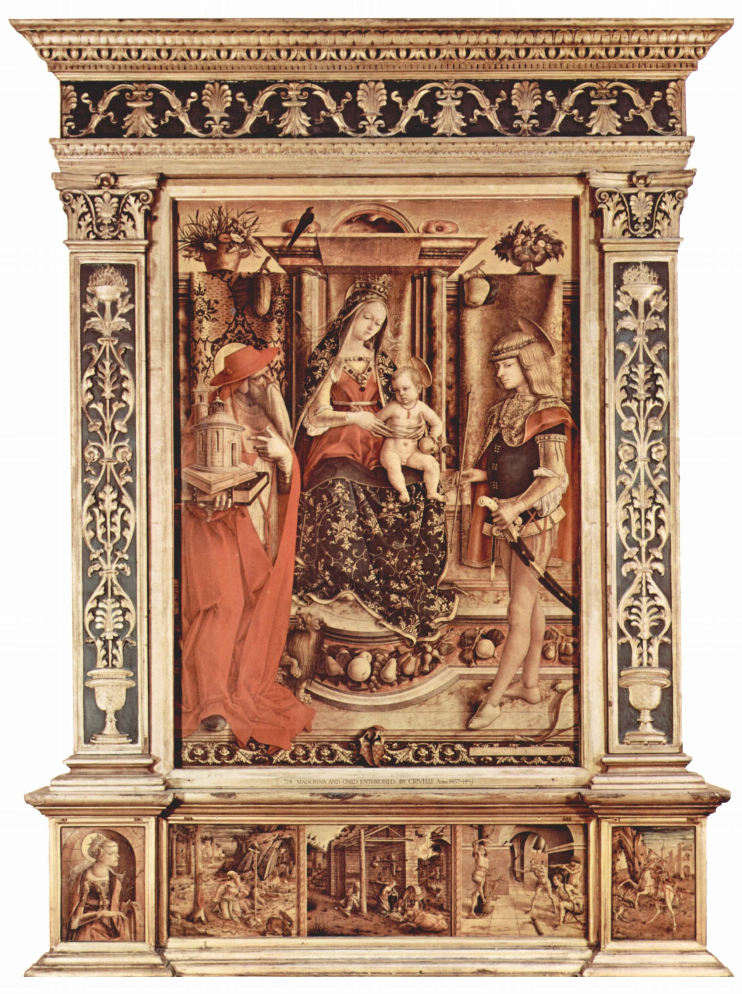 Алтарь семьи Одони, общий вид, центральное изображение  Мадонна на троне, св. Иероним и св. Себастьян, Карло Кривелли