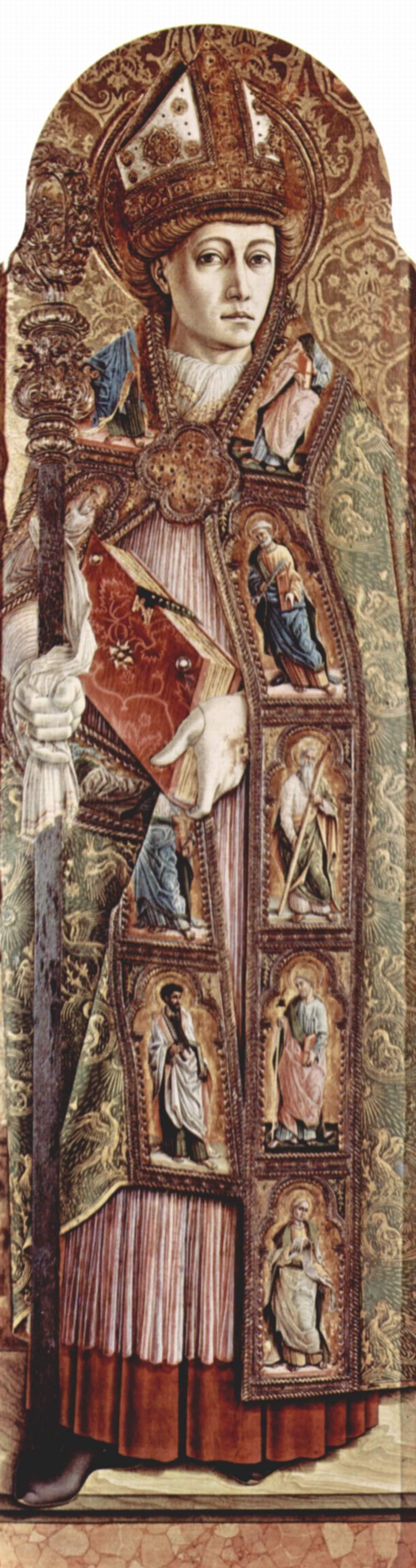 Центральный алтарь кафедрального собора в Асколи, полиптих, внутреняя правая доска  св. Эмидий, Карло Кривелли