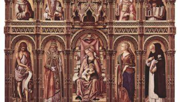 Центральный алтарь Сан Доменико в Асколи, полиптих, общий вид, центральное изображение  Мадонна на троне