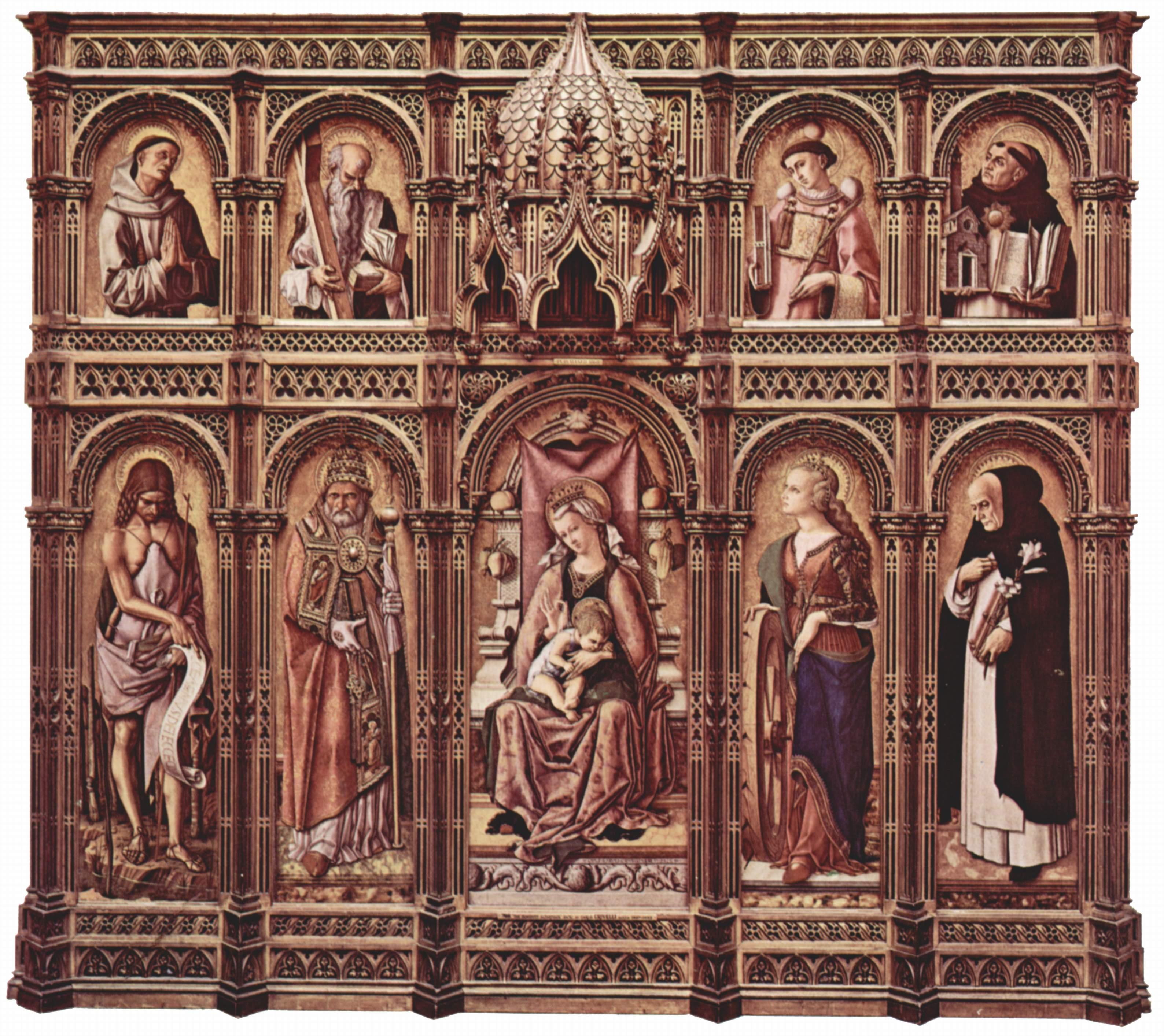 Центральный алтарь Сан Доменико в Асколи, полиптих, общий вид, центральное изображение  Мадонна на троне, Карло Кривелли