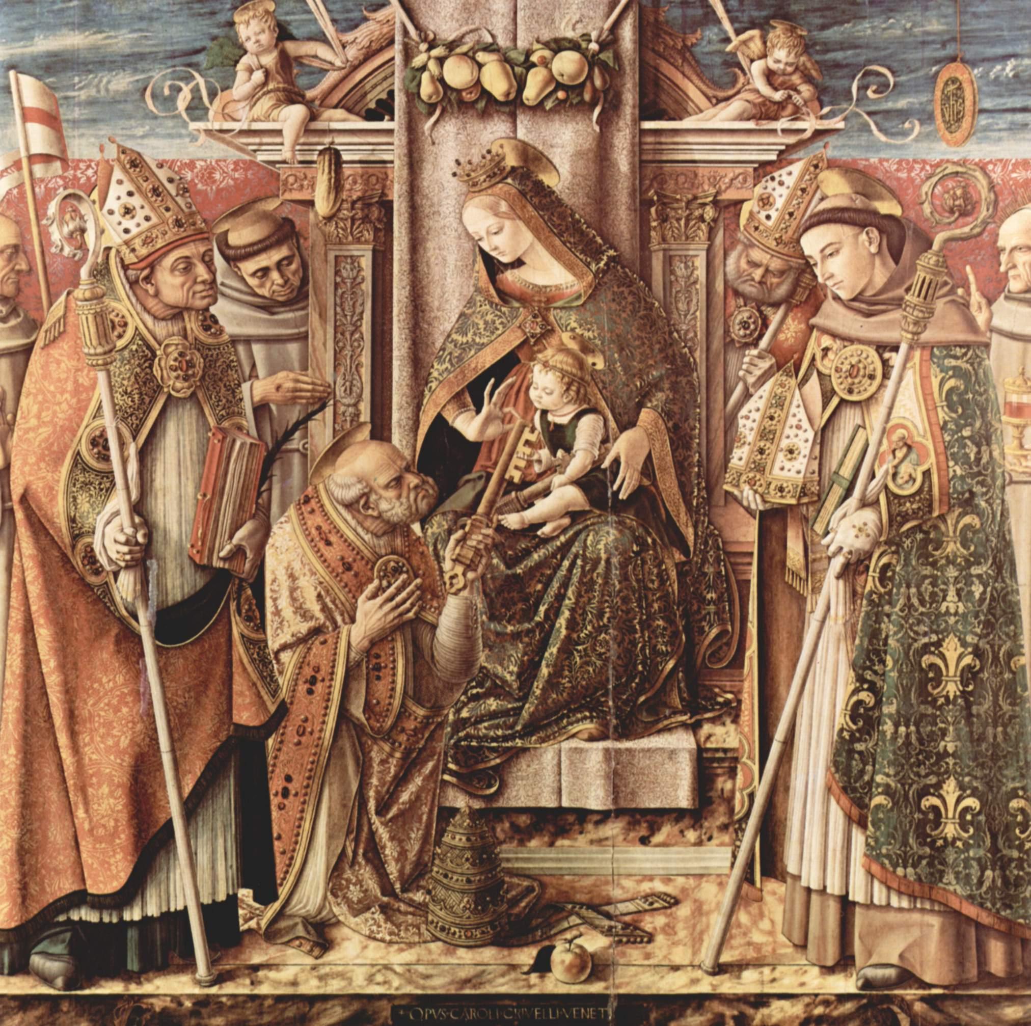 Передача ключей. Мадонна на престоле с младенцем Христом, передающим ключи от рая св. Петру, Карло Кривелли