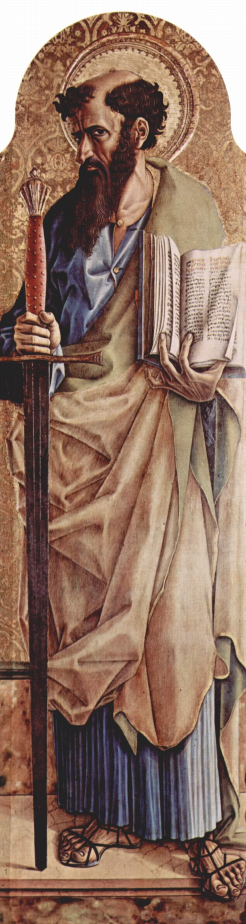 Центральный алтарь кафедрального собора в Асколи, полиптих, правая створка внешняя сторона  св. Павел, Карло Кривелли