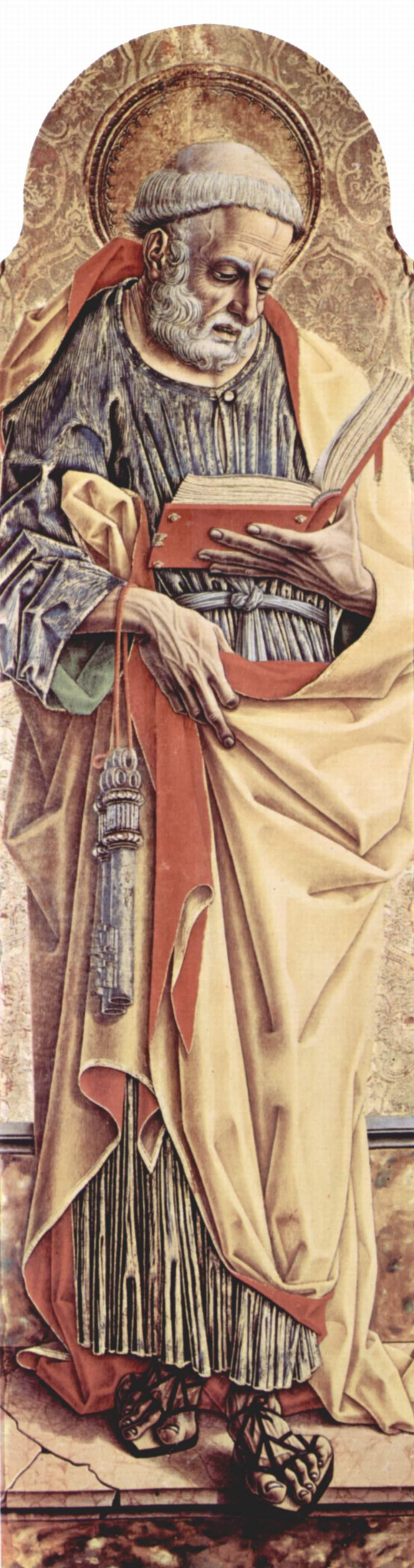 Центральный алтарь кафедрального собора в Асколи, полиптих, левая створка внешняя сторона  св. Петр, Карло Кривелли