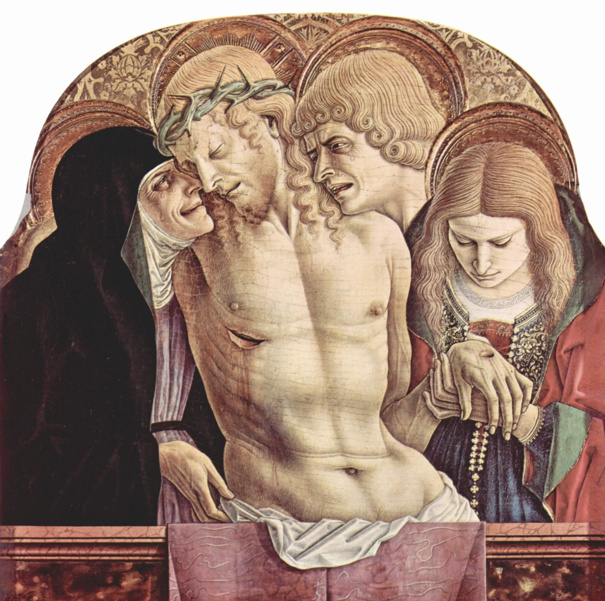 Центральный алтарь кафедрального собора в Асколи, полиптих, навершие средней части  оплакивание Христа, Карло Кривелли