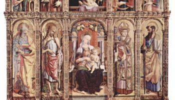 Центральный алтарь кафедрального собора в Асколи, полиптих, общий вид, центральная часть  Мадонна на троне