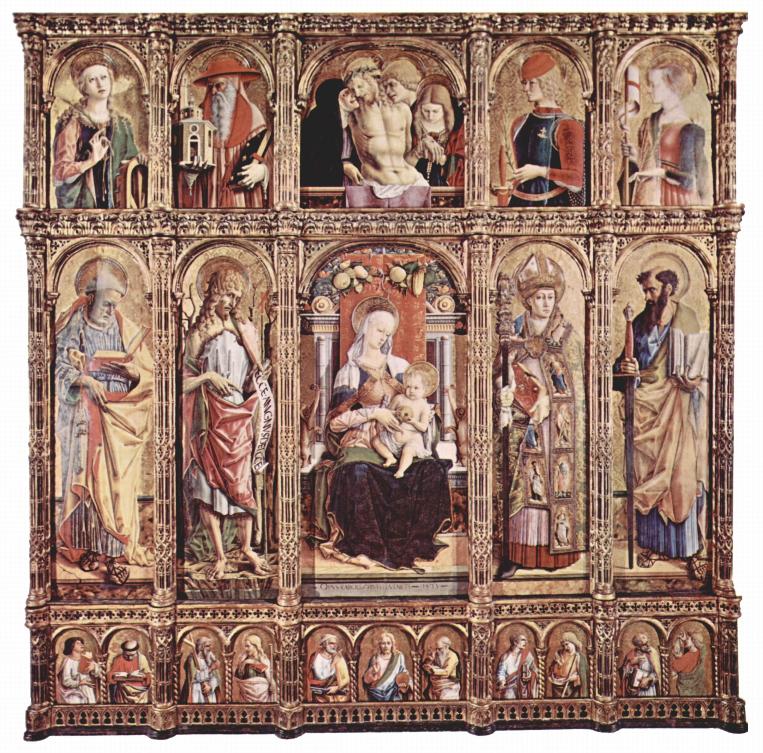 Центральный алтарь кафедрального собора в Асколи, полиптих, общий вид, центральная часть  Мадонна на троне, Карло Кривелли