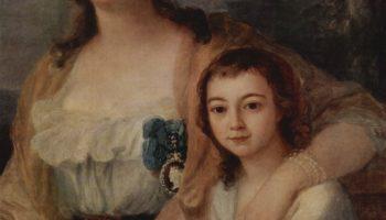 Портрет графини Анны Протасовой с племянником. Фрагмент