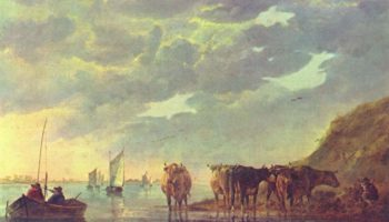 Пастух с пятью коровами у реки