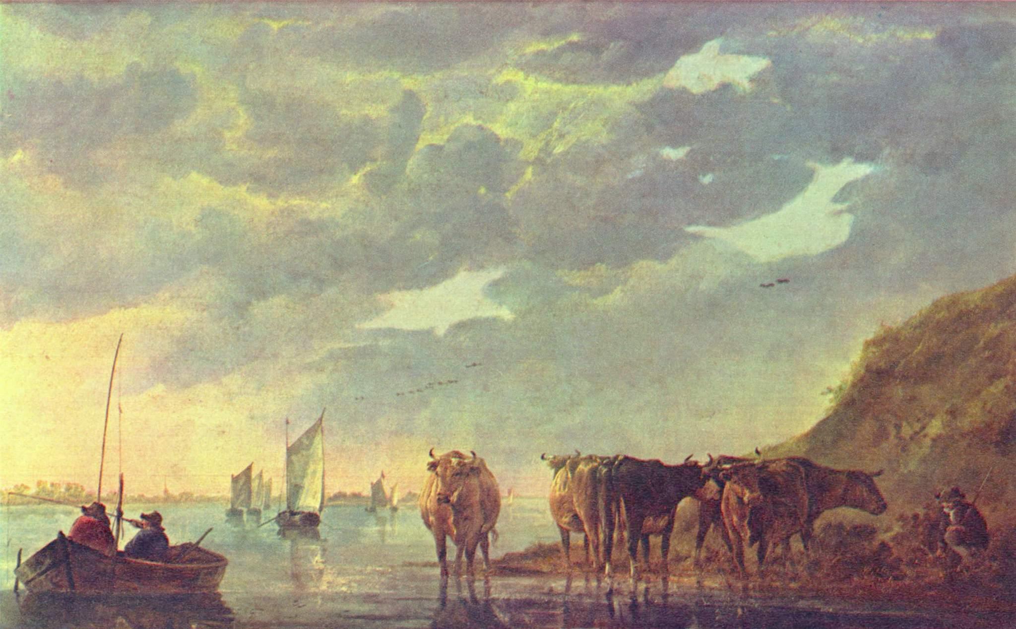 Пастух с пятью коровами у реки, Кейп Альберт