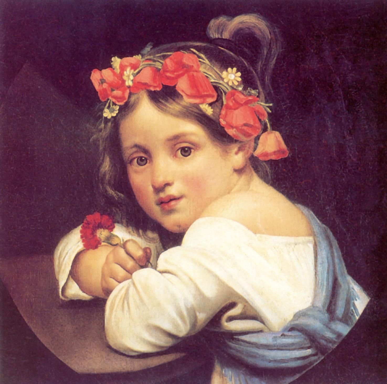 Девочка в маковом венке с гвоздикой в руке (Мариучча), Кипренский Орест Адамович