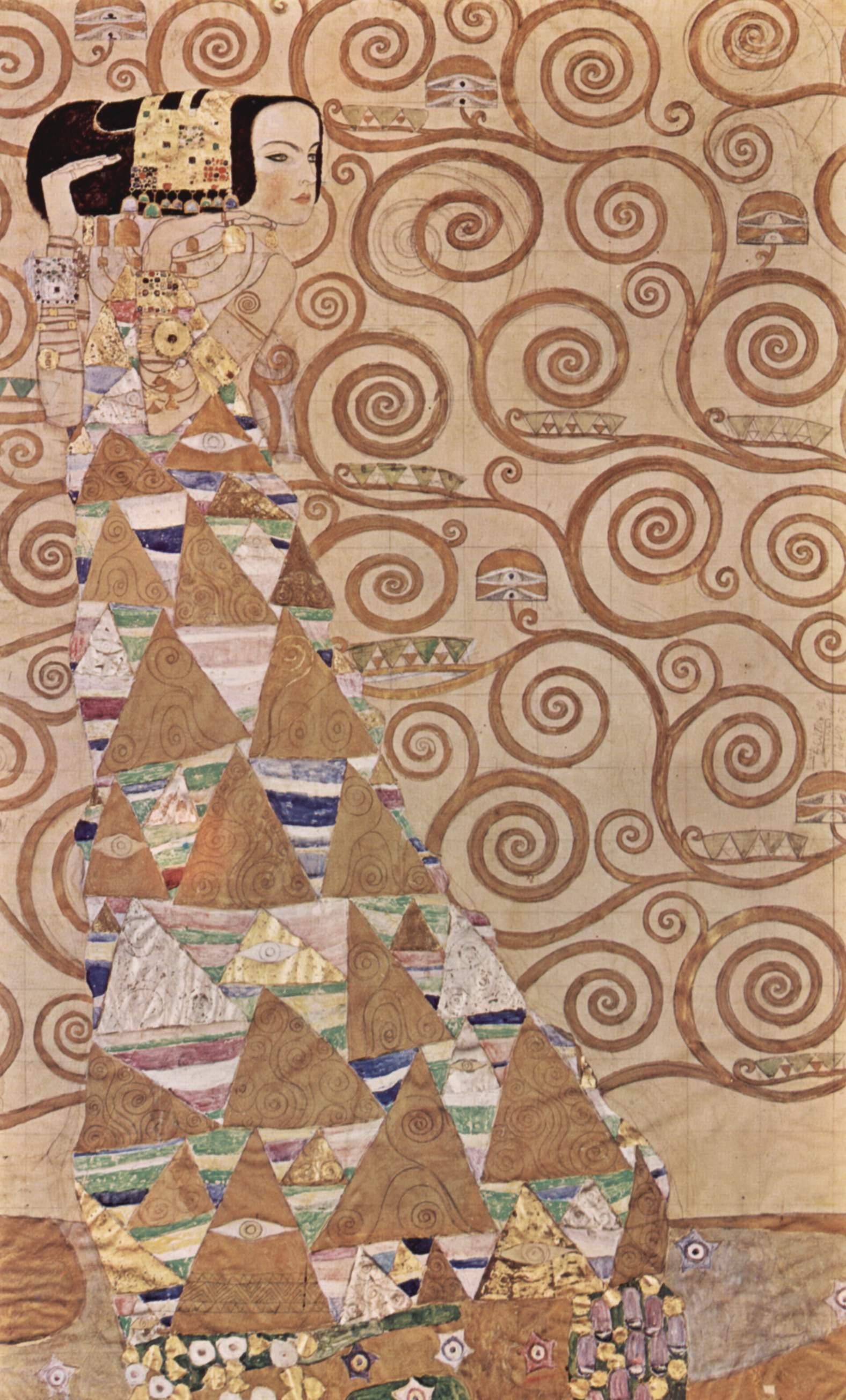 Картон для фриза во дворце Стокле (Брюссель). Фрагмент. Ожидание, Климт Густав