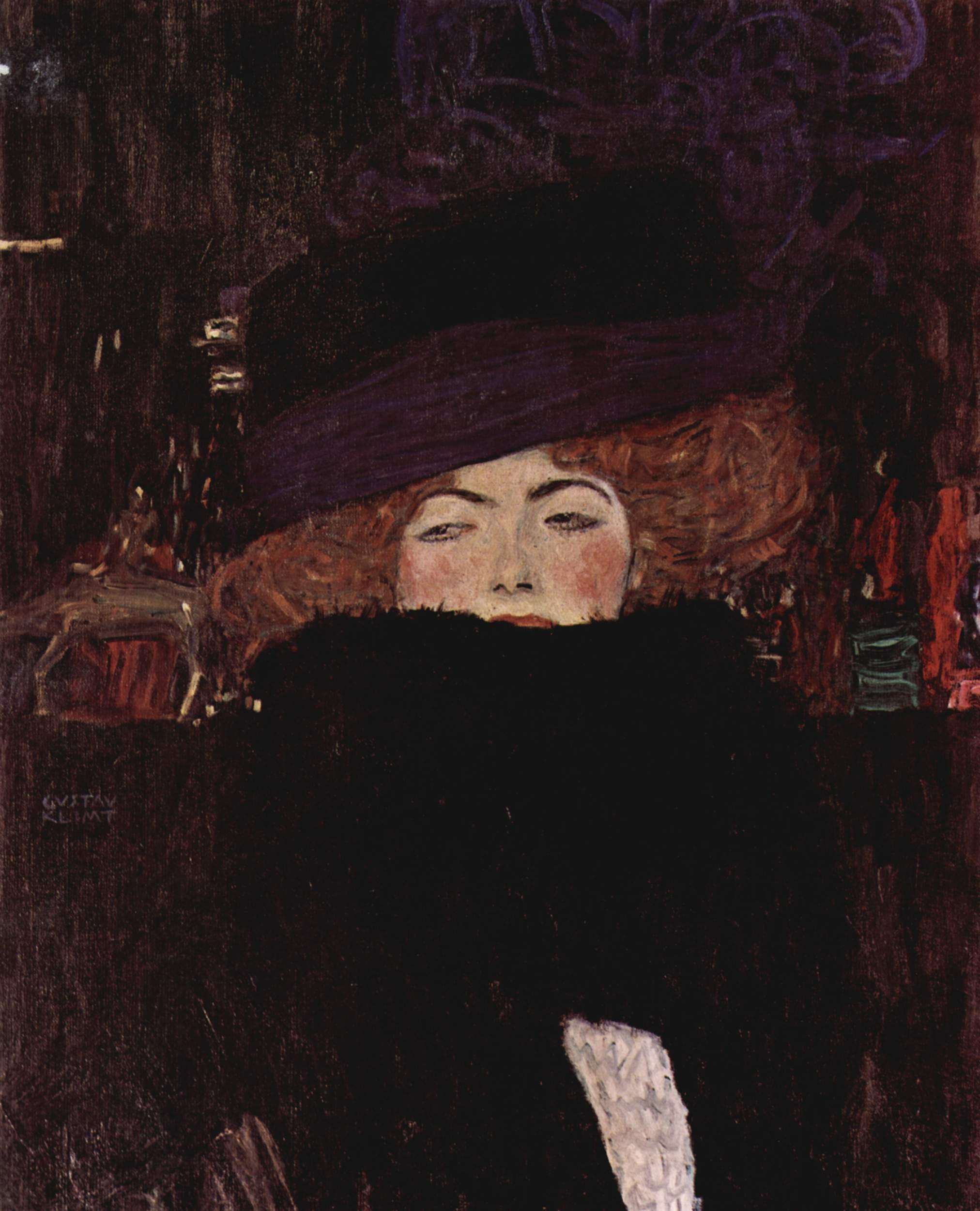 Дама в шляпе и боа из перьев, Климт Густав