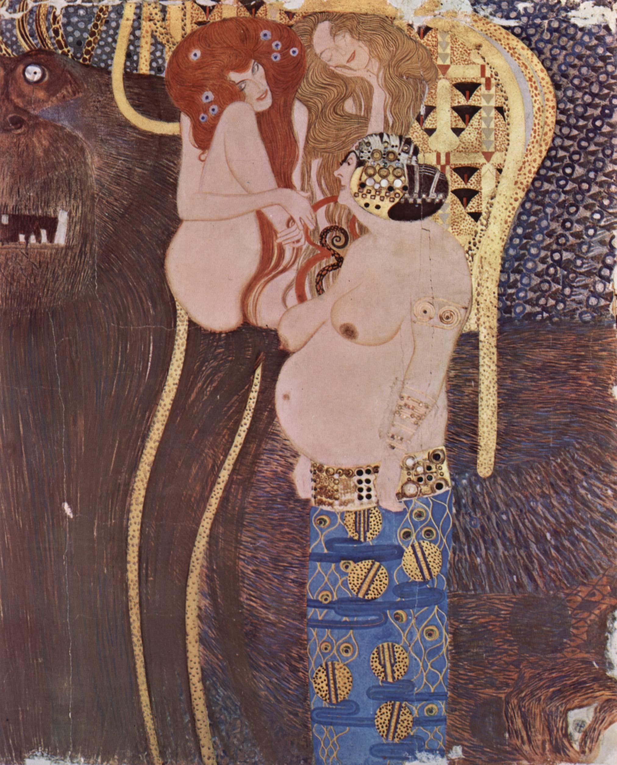 Бетховенский фриз, стенная роспись в Доме Сецессиона (Вена), ныне Австрийской галерее. Фрагмент, Климт Густав
