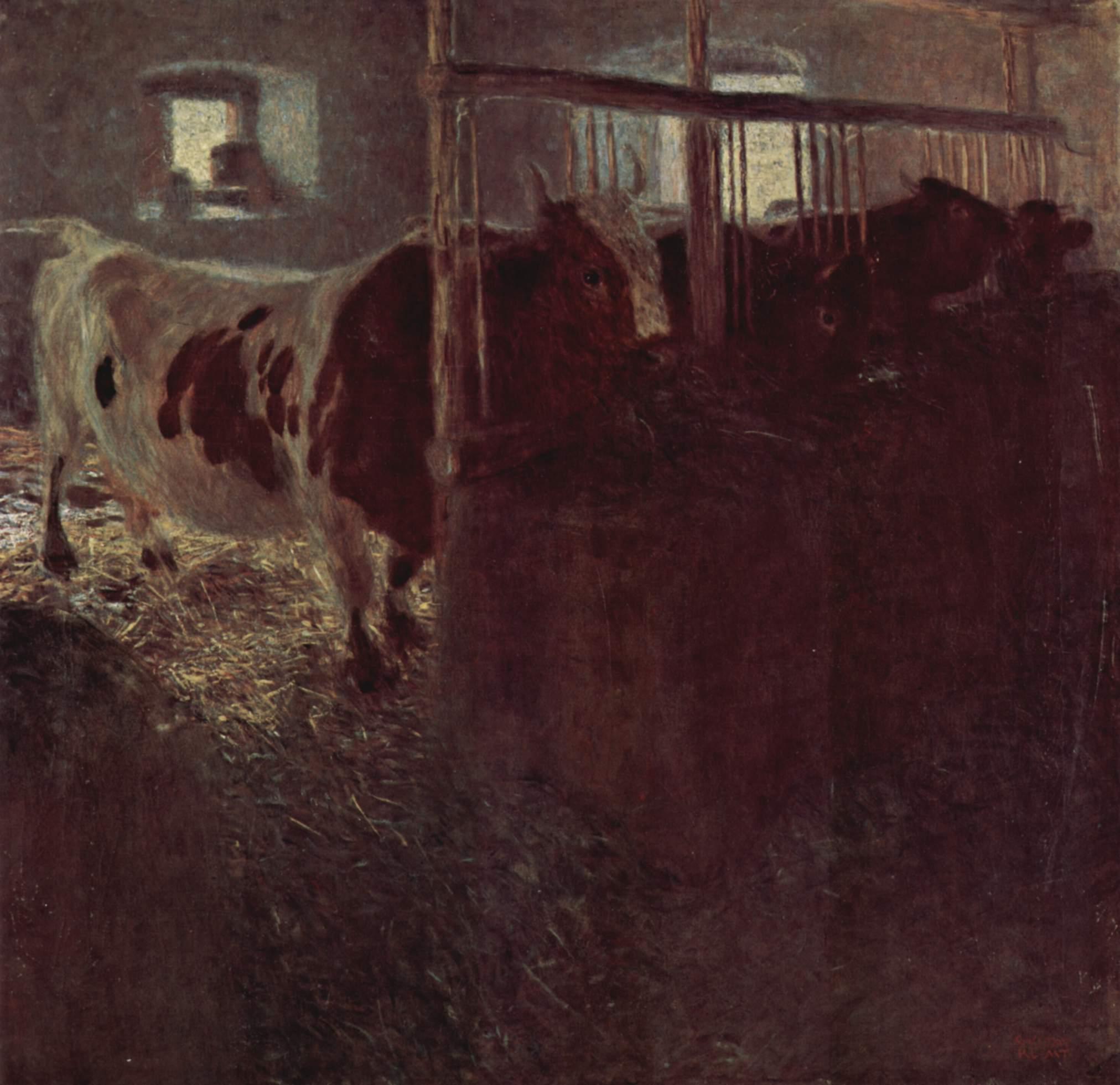 Коровы в хлеву, Климт Густав