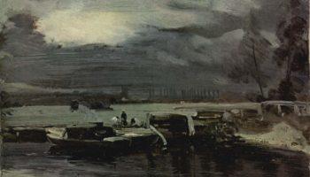 Баржа на реке Стаур, с видом на церковь Дедхема