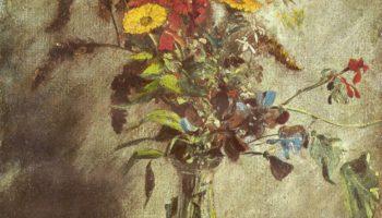 Цветы в стеклянной вазе Этюд