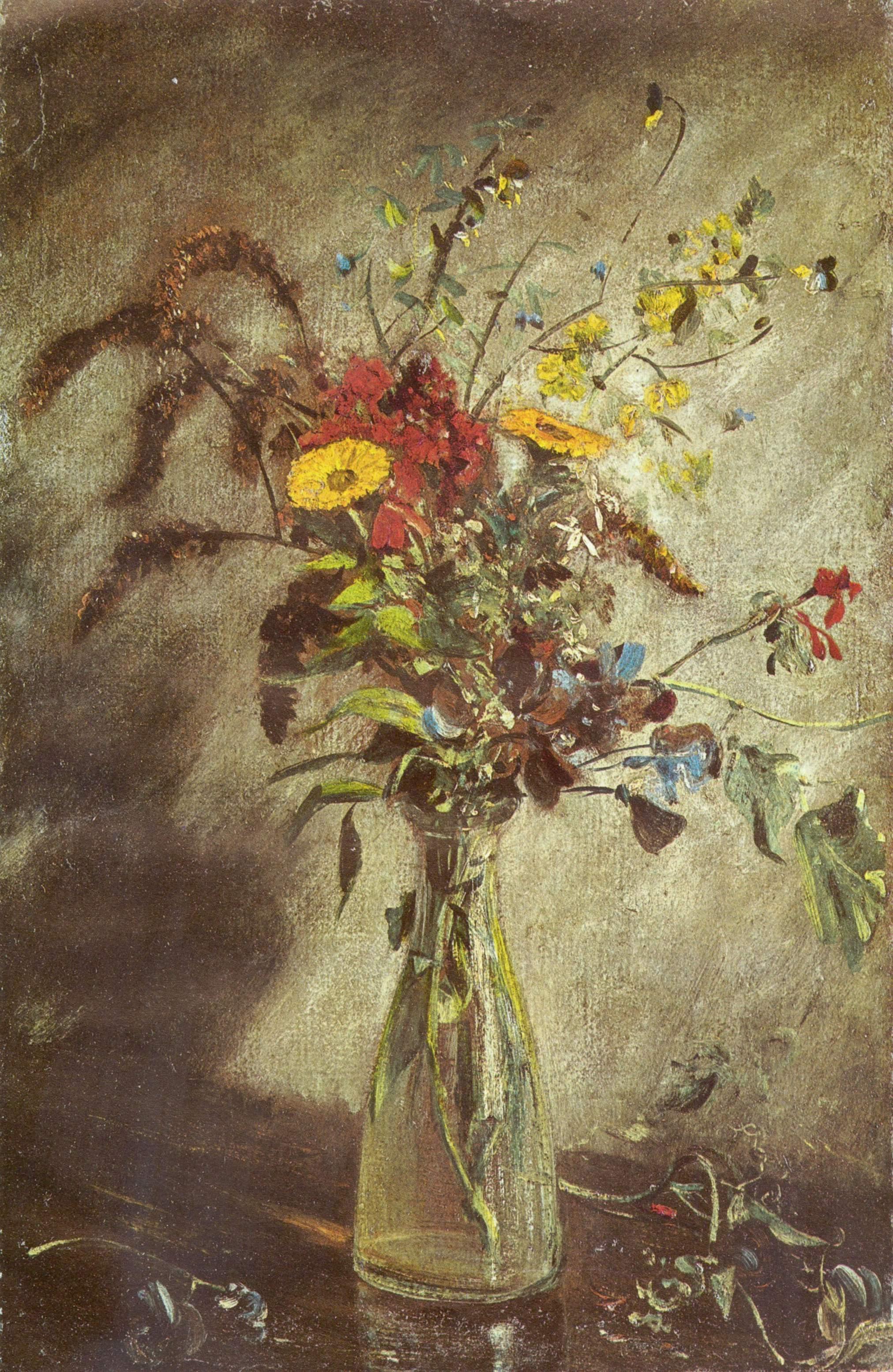 Цветы в стеклянной вазе Этюд, Констебл Джон