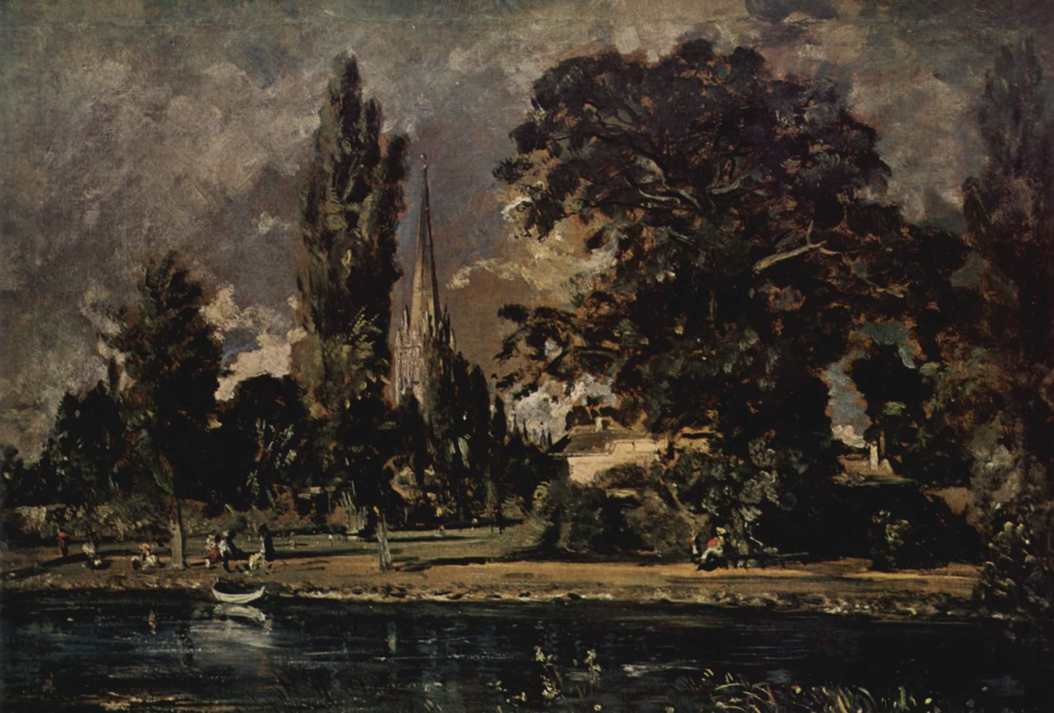 Вид с реки на собор в Солсбери, дом викария Фишера. Этюд, Констебл Джон