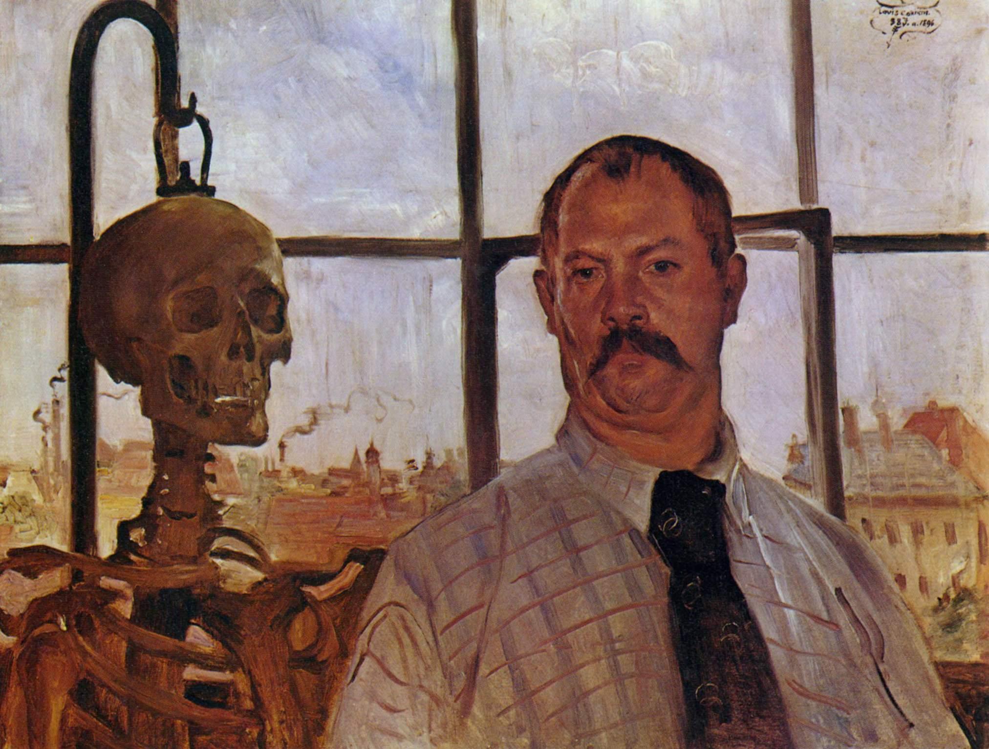 Автопортрет со скелетом, Коринт Ловис
