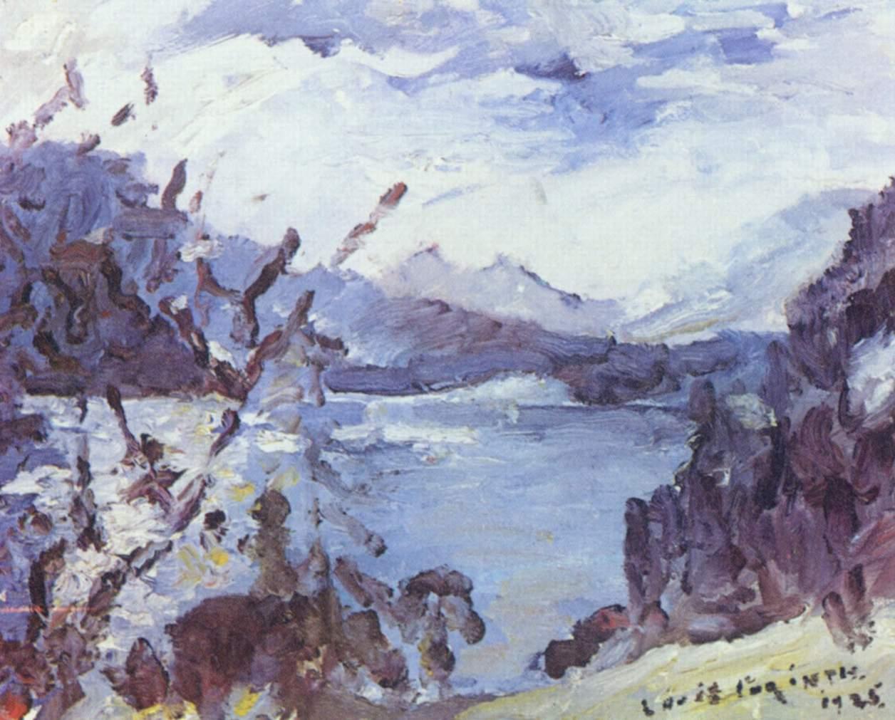 Озеро Вальхен с горной грядой на горизонте и отвесным берегом, Коринт Ловис