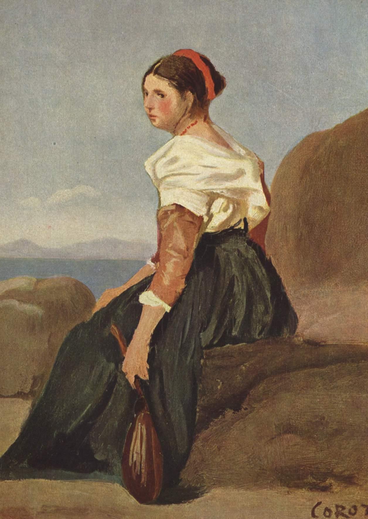 Женщина с мандолиной, Коро Жан-Батист-Камиль