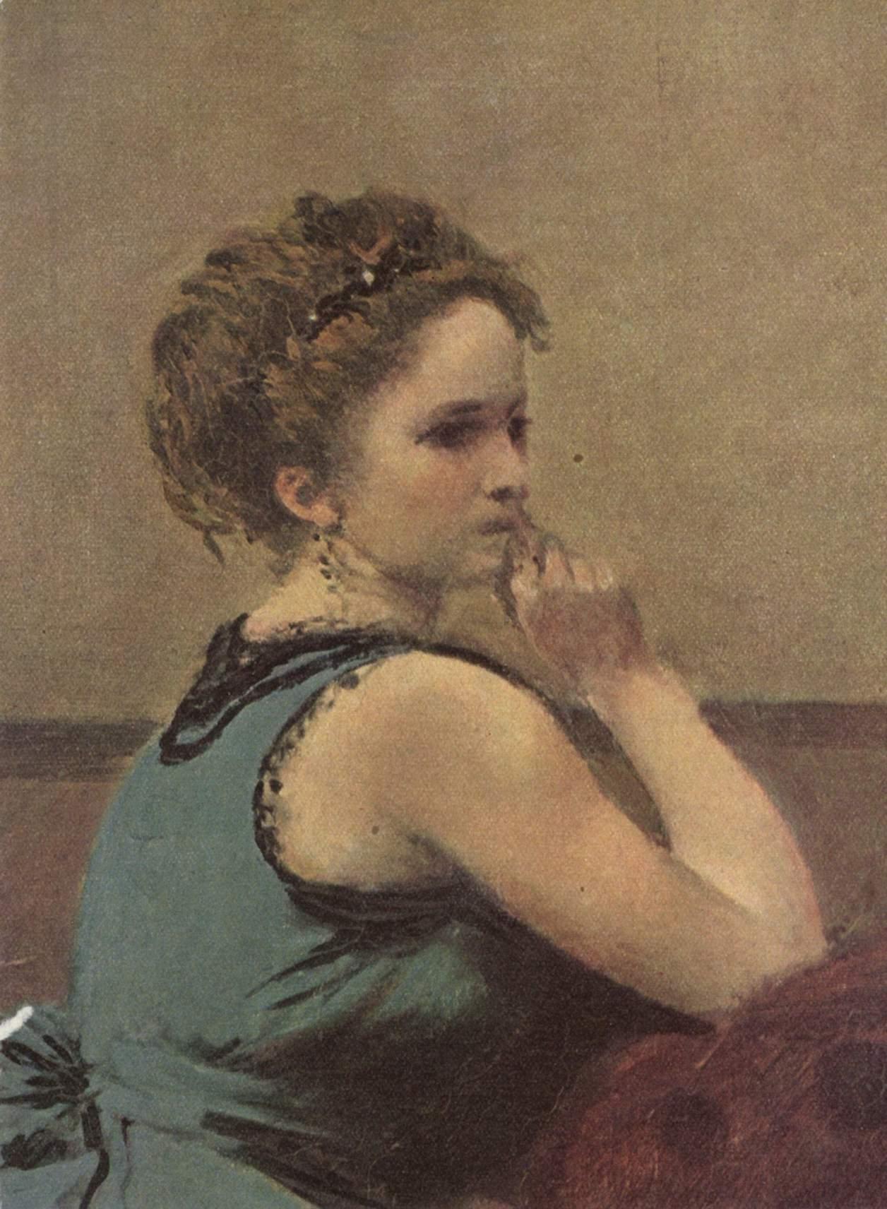 Женщина в голубом. Деталь, Коро Жан-Батист-Камиль