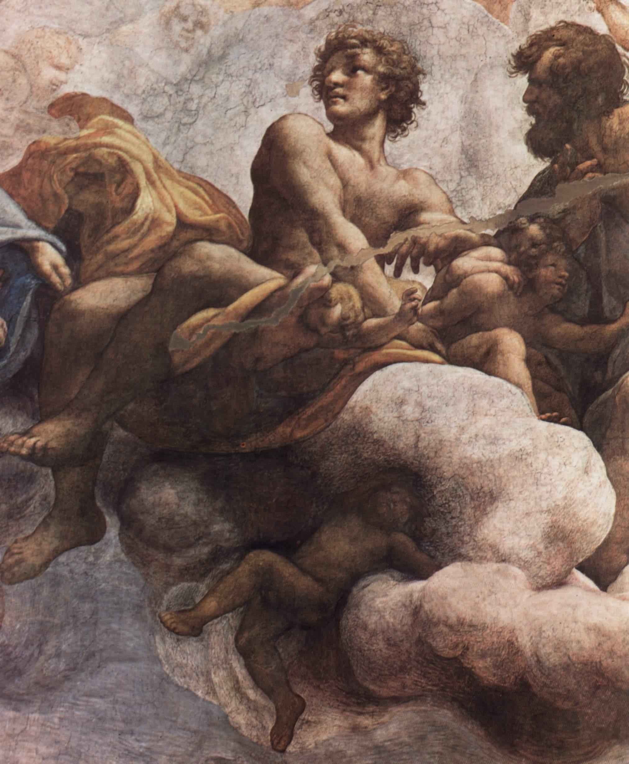 Фрески в церкви Сан Джованни Евангелиста в Парме, роспись купола, видение св. Иоанна на Патмосе, Корреджо