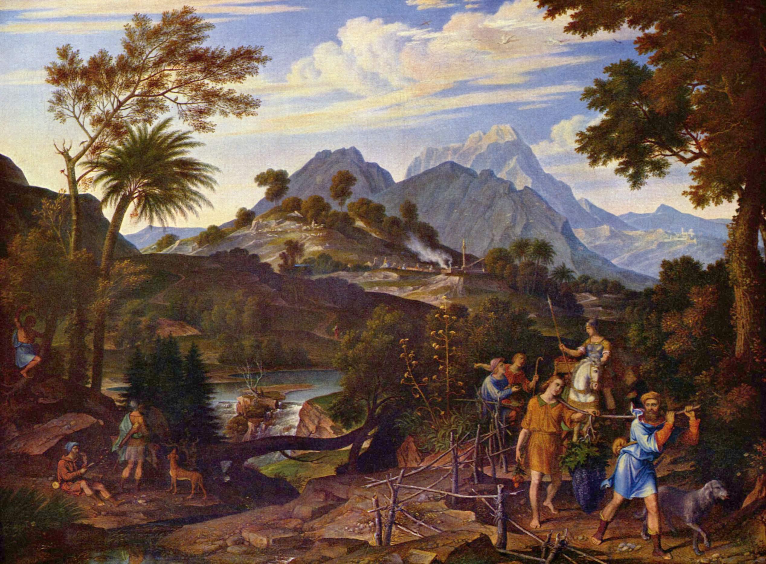 Пейзаж с лазутчиками, возвращающимися из земли обетованной, Кох Йозеф Антон