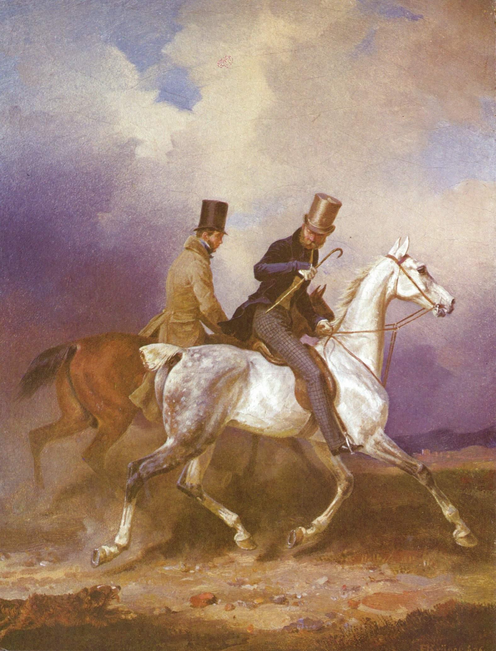 Принц Вильгельм Прусский на прогулке в сопровождении художника, Крюгер Франц