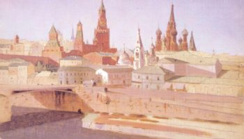 Москва. Вид на Москворецкий мост, Кремль и храм Василия Блаженного