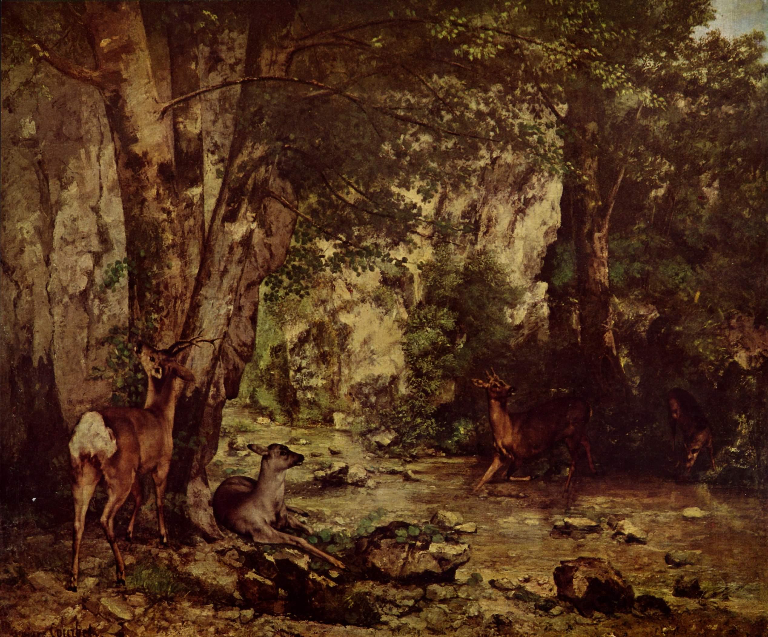 Косуля в лесу, Курбе Гюстав