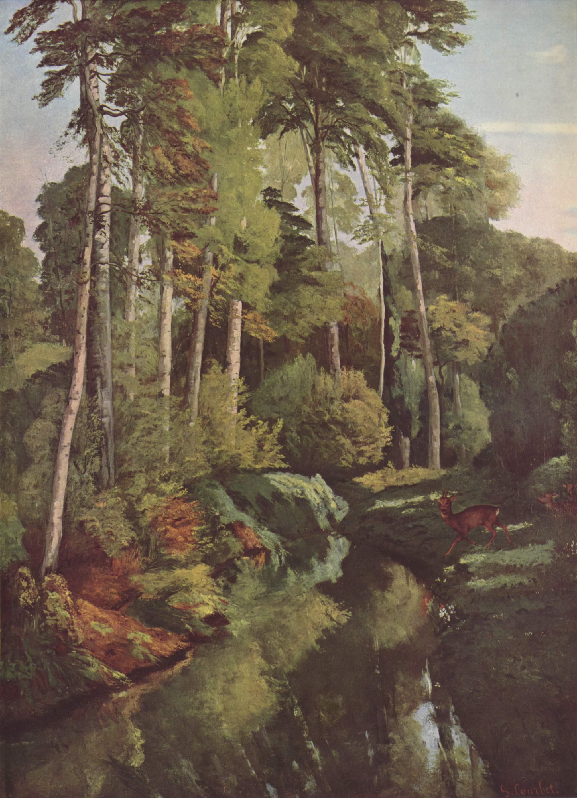 Лесной ручей с косулями, Курбе Гюстав