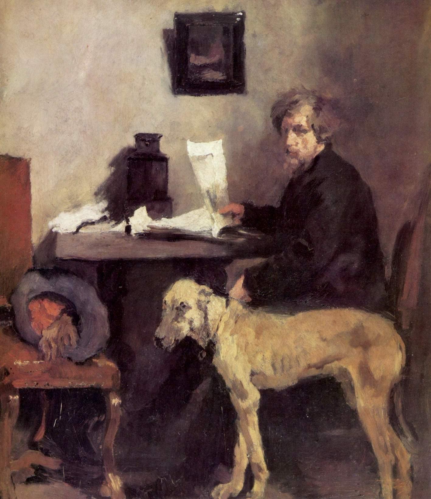 Портрет художника Заттлера с его догом, Лейбль Вильгельм Мария Хубертус