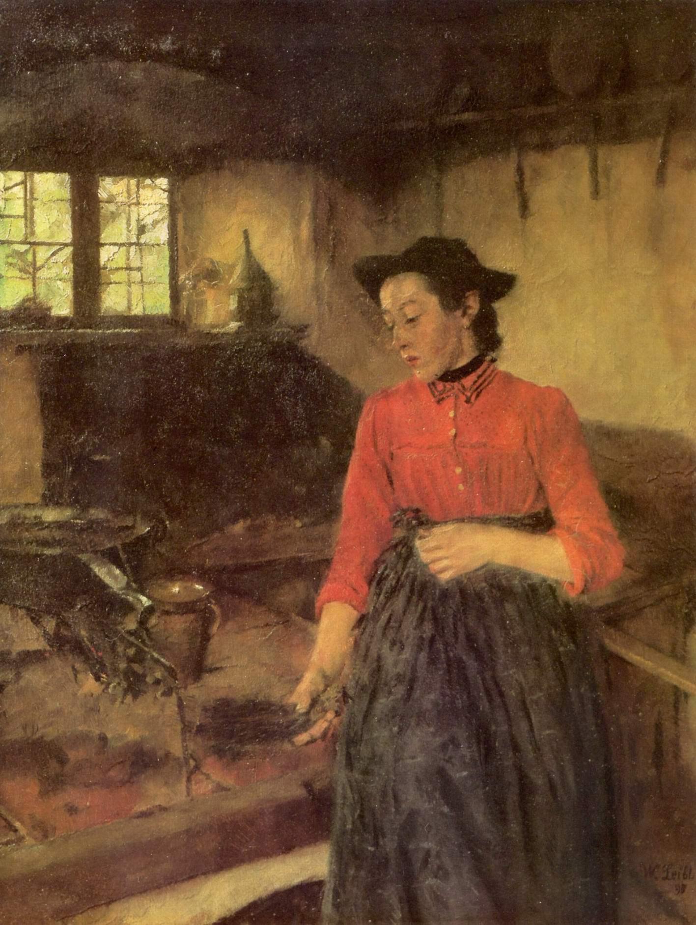 Девушка у очага, Лейбль Вильгельм Мария Хубертус