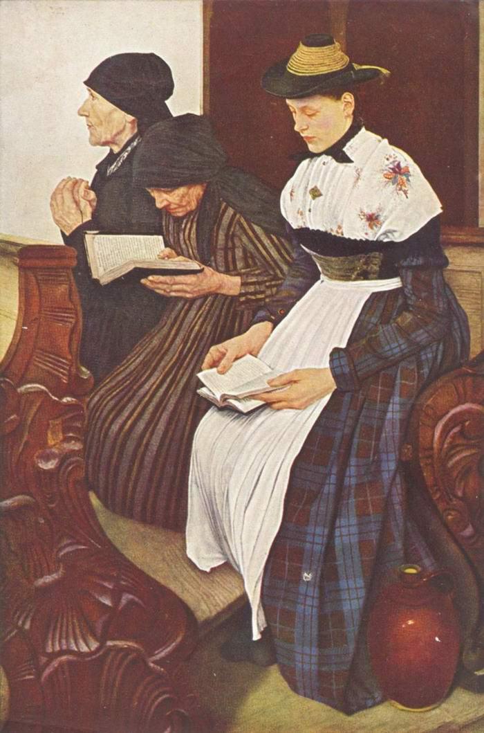 Три женщины в церкви, Лейбль Вильгельм Мария Хубертус